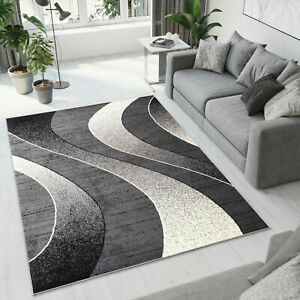 Beautiful Grey Modern Rug Top Design Living Room Different Sizes Waves Pattern