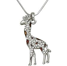 Beautiful Brown Enamel and Crystals Giraffe Necklace  Rhodium Plated Gift Boxed