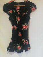 VGC RIVER ISLAND WOMEN LADIES FLORAL BLACK FIT & FLARE DRESS SHORT SLEEVE 10 UK