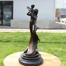 Art Deco handmade Sculpture Mother & Son Eagle Bronze Copper Statue