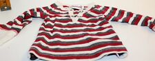 Coccoli Long Sleeve Henley Red, Gray and Off White Stripe Shirt  Baby 3M