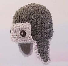 BABY BOYS HAND CROCHETED AVIATOR PILOT HAT photo prop knit ear flaps grey gift