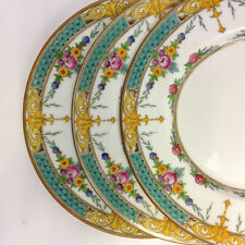 "Minton Selwyn Salad Plates Set of 3 Turquoise Yellow 7 3/4"" Vintage"