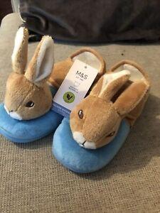 M&S Children's Rare Limited Peter Rabbit Bunny Rabbit Slippers Size 11uk