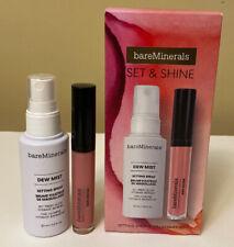 Bare Minerals Set & Shine 2Pc Makeup Set Setting Spray 1 Oz Gen Nude Lip Lacquer