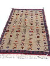 moroccan berber Kilim Akhnif Gray Medium Area Rug 5.9x3.6ft