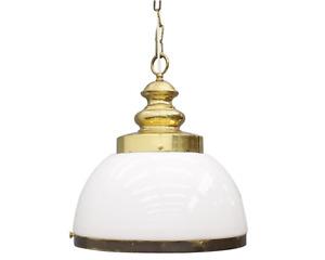 Glass Pendant Lamp in Glass and Brass 70s 70er Lampe Glas Scandinavian Modern