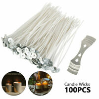 "100 Pcs 6"" Waxed Candle Wicks for Candle Making With Sustainers 15cm US"