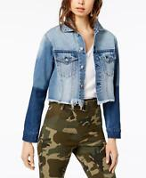 Kendall + Kylie Womens Ladies Blue Cropped Raw Hem Two-Toned Denim Jacket Size S