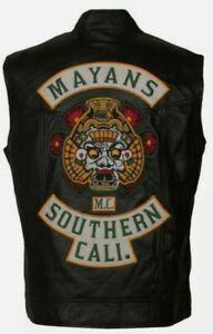 Men's JD Pardo Mayans MC Northern Cali Ezekiel Reyes Biker Black Leather Vest