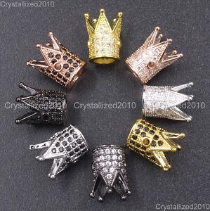 Zircon Gemstones Pave King Crown Bracelet Connector Charm Beads Silver Gold Rose