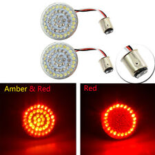 Red/Amber 1157 Bullet LED Turn Signal Inserts For Harley Touring Softail 11-17