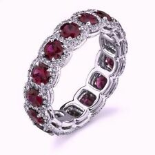 4.00ct Round Cut Pink Sapphire and Diamond Wedding Band 14k Solid White Gold