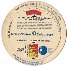 1970's DRINK DRIVE BLOOD ALCOHOL CONTENT CALCULATOR COLORADO HIGHWAY SAFETY