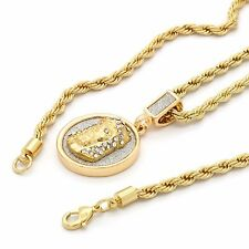 """Mens Hip Hop 14k Gold Plated Jesus Face Coin Pendant w/ 24"""" 4mm TCH Rope Chain"""