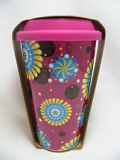 Flowers Travel Coffee Mug Cup 10 oz Ceramic Pink Silicone Lid Eco One New