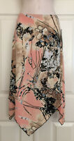 Olivia Paige VTG Pretty Floral Print Midi Skirt W/Handkerchief Scarf Hem NWT! M