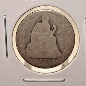 1863 -S Seated Liberty Dime US Coin