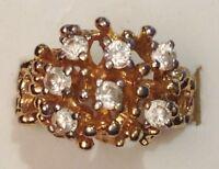 bague bijoux plaqué or 18k poinçonnée fiançailles oxyde diamant solitaire T.56