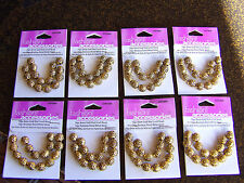 Wholesale lot 128 PIECE NEW in package 8MM GOLD metal charm ROUND SCROLL beads