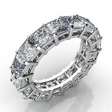 7.00CT PRINCESS CUT ETERNITY RING 14K WHITE GOLD over CZ ANNIVERSARY BAND, US 7