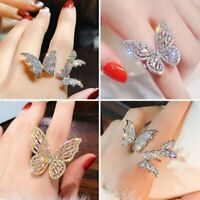 Fashion Butterfly Zircon Crystal Finger Opening Ring Women Wedding Jewelry Gifts