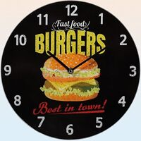 "Glas-Wanduhr Wall Clock Ø ca. 30 cm Uhr mit ansprechendem Motiv: ""Burgers"""
