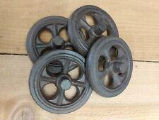 "Set of 4 Cast Iron Six Spoke Wheels 4"" Antique Industrial Farmhouse Style"