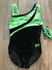 Nwt Gk Elite Lime Green Black Velvet Velour Gymnastics Leotard Adult X-Small Axs