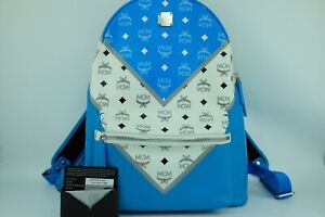 100% Authentic MCM Blue White Visetos Stark Unisex Backpack With Warranty Cards