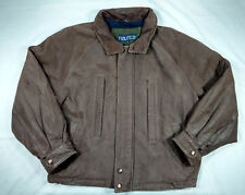 Nautica Mens Vintage Brown Heavy Leather Bomber Jacket with Stow Away Hood Sz 46