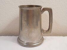 English Pewter Glass Bottom Beer Stein Mug Tankard ~ Sheffield ~ Engraved Frank