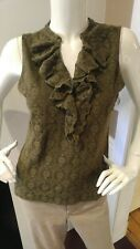 Chaps Denim Women's Sleeveless Knit Top Blouse Lace Lined Tank Size Large Green