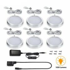 6 Packs Under Cabinet Lighting Kit LED Kitchen Counter Closet Puck Light Lamp