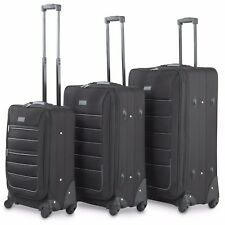 VonHaus Fabric Luggage 3 Set Cabin Bag Medium & Large Suitcases 4 Wheels Lock