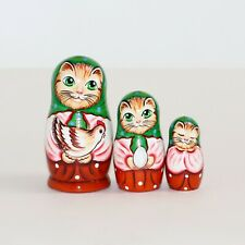 Russian nesting doll matryoshka handmade Cat with green kerchief modern