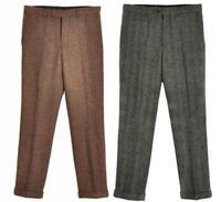 New Men Tweed Vintage Herringbone Casual Wool Dress Pants Work Wedding Trousers