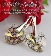 925 Sterling Silver Earrings Crystals From Swarovski® HEART Gold Patina 14mm