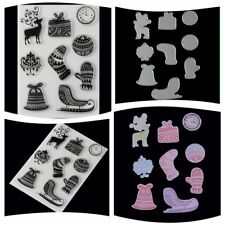 Cut Dies+Transparent Stamp Set Christmas Theme Embossing Template DIY Paper Card