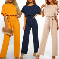 Women Short Sleeve Playsuit Clubwear Straight Leg Jumpsuit With Belt Outfit DZ