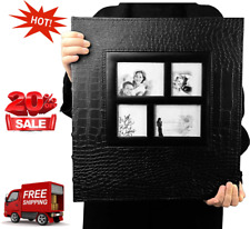 Photo Album 600 Pockets Leather Cover Black Pages Big Capacity for 4x6 Fotos
