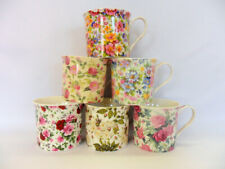 Set of 6 Abbeydale collection assorted floral design china palace mugs