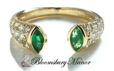 Vintage 90s Cartier Marquise Cut Emerald Diamond Pave 18k Gold Open Ring, Size L
