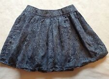 H&M Girls Size 7-8 Year Blue Floral Skirt Above Knee Cute! n18