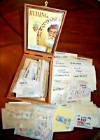 CatalinaStamps: WW Stamp Packets in Cigar Box, 190 packets, 2806 Stamps, #E33