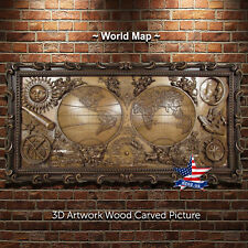 """53""""/151cm World Map Wood carved 3D ARTWORK picture icon"""