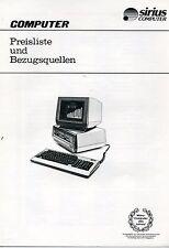 "VINTAGE (198X)  BROCHURE:  SIRIUS 1 COMPUTER PREISLISTE/ ""WHERE TO BUY  (GERMAN)"