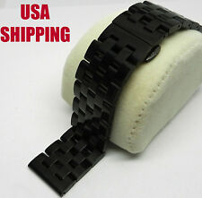 24mm Black PVD Ion Steel Butterfly Clasp Strap Band Bracelet Fits Many Brands