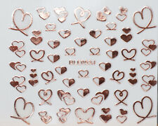 Rose Gold Metallic Hearts Loves 3D Nail Art Stickers Decals UV Gel Acrylic