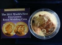 2011 GOLD PLATED PROOF TDC 5 CROWNS COIN BOX + COA WEDDING WILLIAM & KAKE 1/999